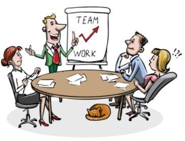 Teamwork entsteht nach einem gutem Team-Coaching - Zeichnung
